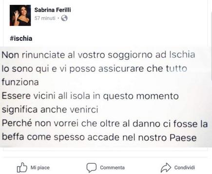 """Appello. Sabrina Ferilli: """"Non rinunciate al vostro soggiorno ad ..."""